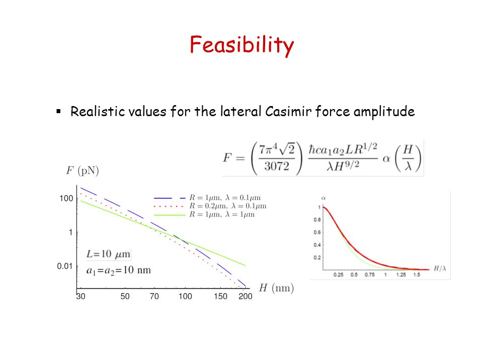 Feasibility  Realistic values for the lateral Casimir force amplitude