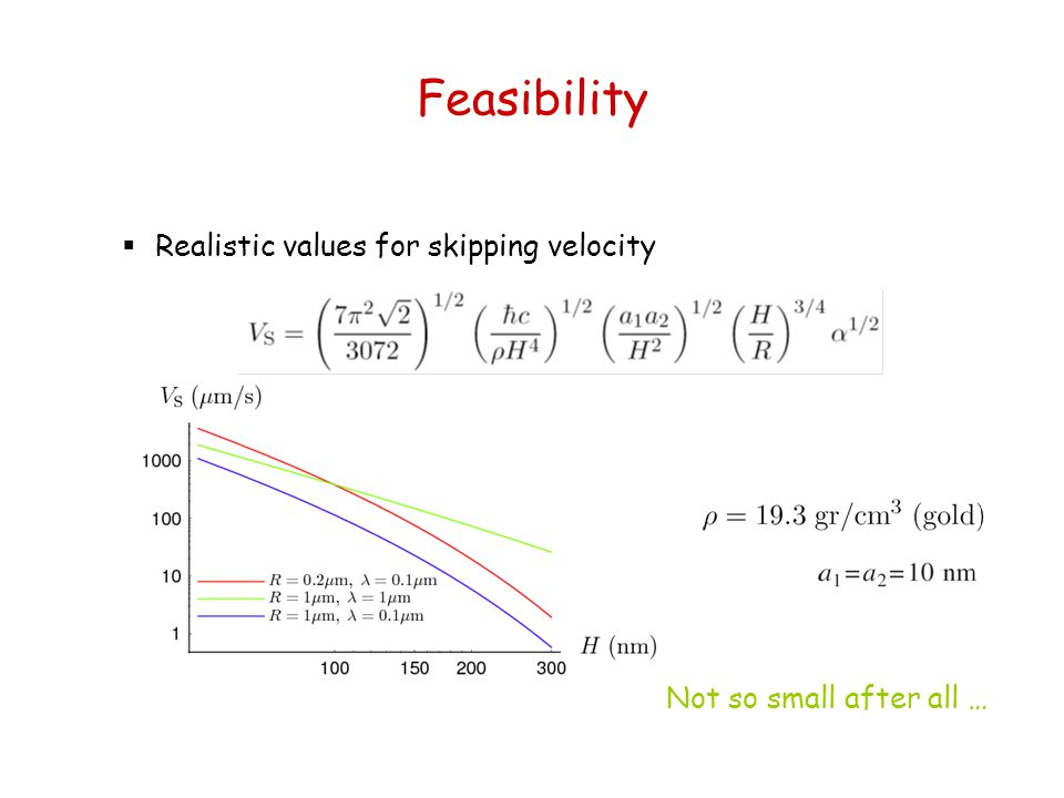 Feasibility  Realistic values for skipping velocity Not so small after all …