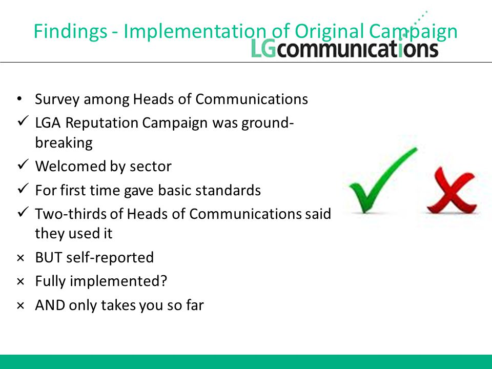 Findings - Implementation of Original Campaign Survey among Heads of Communications LGA Reputation Campaign was ground- breaking Welcomed by sector For first time gave basic standards Two-thirds of Heads of Communications said they used it ×BUT self-reported ×Fully implemented.