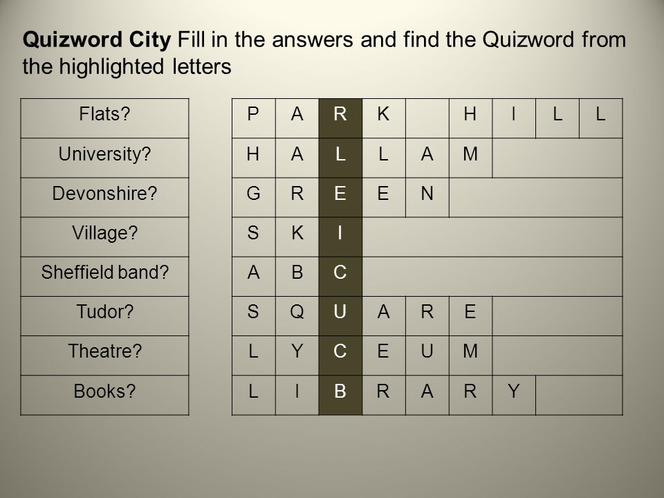 Quizword City Fill in the answers and find the Quizword from the highlighted letters Flats PARKHILL University HALLAM Devonshire GREEN Village SKI Sheffield band ABC Tudor SQUARE Theatre LYCEUM Books LIBRARY