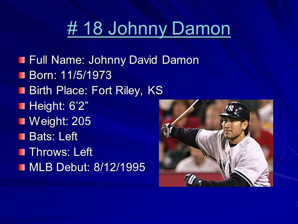 # 18 Johnny Damon # 18 Johnny Damon Full Name: Johnny David Damon Born: 11/5/1973 Birth Place: Fort Riley, KS Height: 6'2 Weight: 205 Bats: Left Throws: Left MLB Debut: 8/12/1995