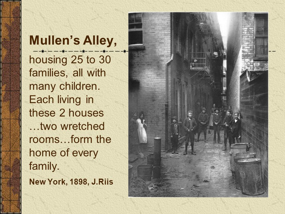 Mullen's Alley, housing 25 to 30 families, all with many children. Each living in these 2 houses …two wretched rooms…form the home of every family. Ne