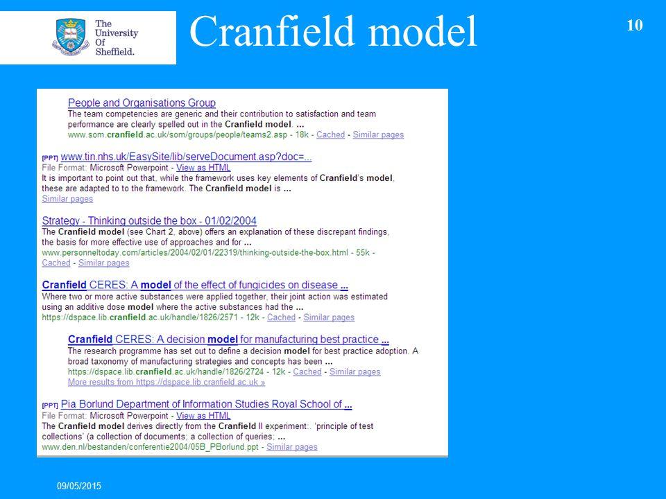 Cranfield model 09/05/2015 10