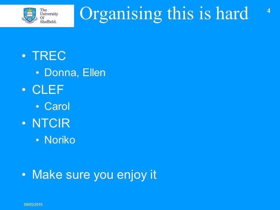 Organising this is hard TREC Donna, Ellen CLEF Carol NTCIR Noriko Make sure you enjoy it 09/05/2015 4