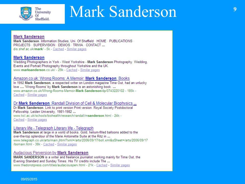 Mark Sanderson 09/05/2015 9