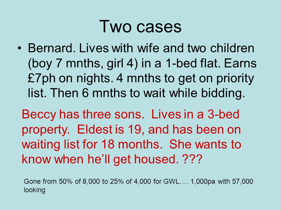 Two cases Bernard. Lives with wife and two children (boy 7 mnths, girl 4) in a 1-bed flat.