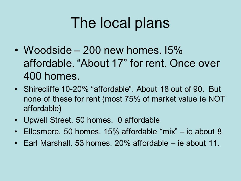 The local plans Woodside – 200 new homes. I5% affordable.