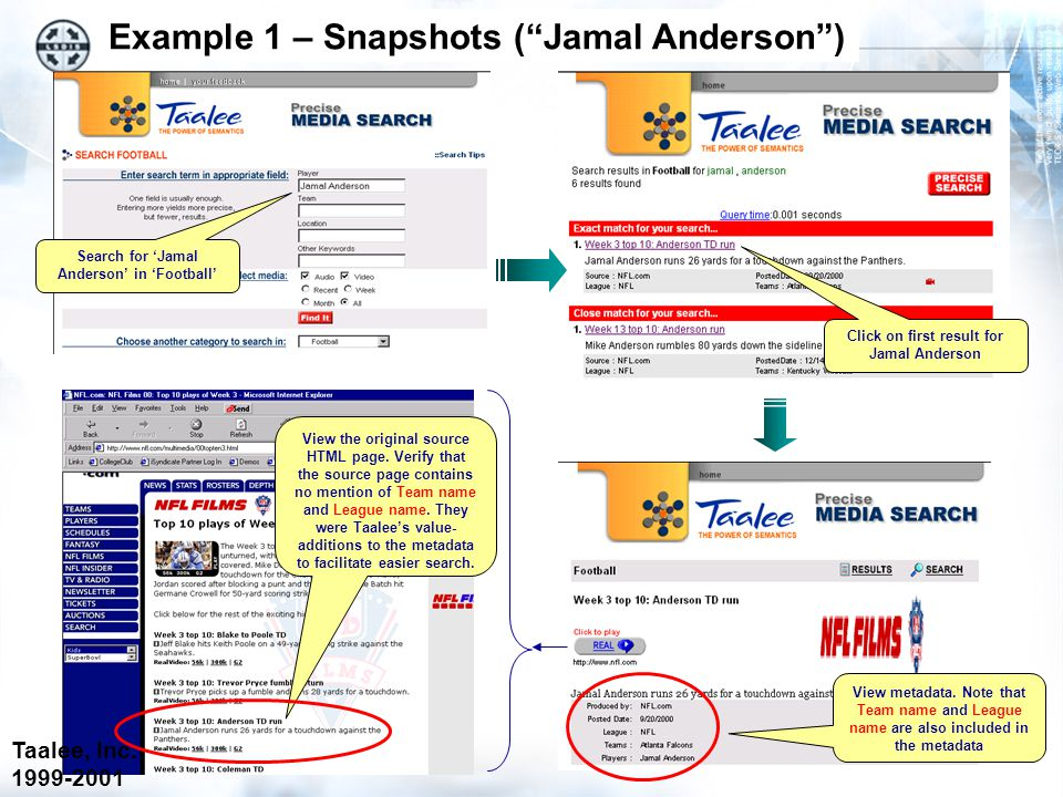 Example 1 – Snapshots ( Jamal Anderson ) Click on first result for Jamal Anderson View metadata.