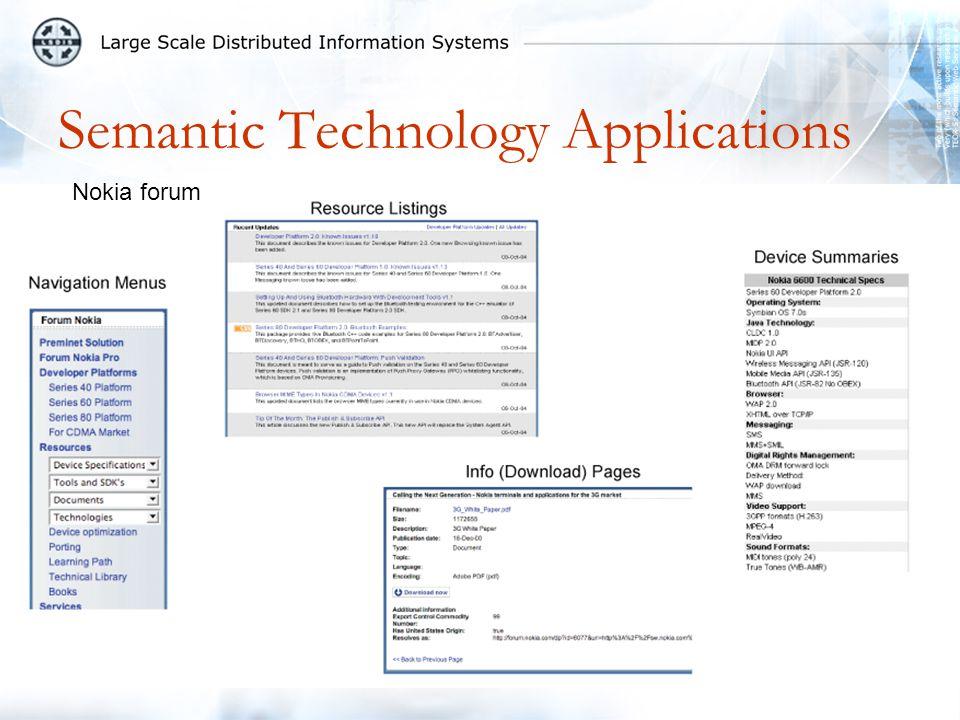 Semantic Technology Applications Nokia forum