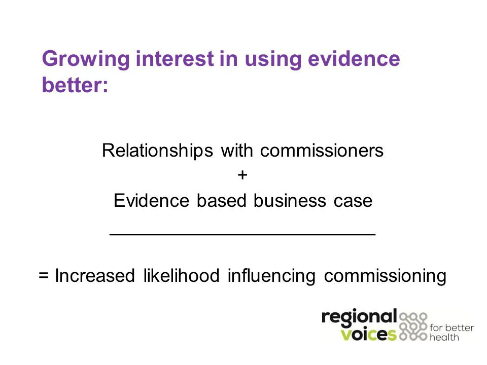 Growing interest in using evidence better: Relationships with commissioners + Evidence based business case _________________________ = Increased likelihood influencing commissioning