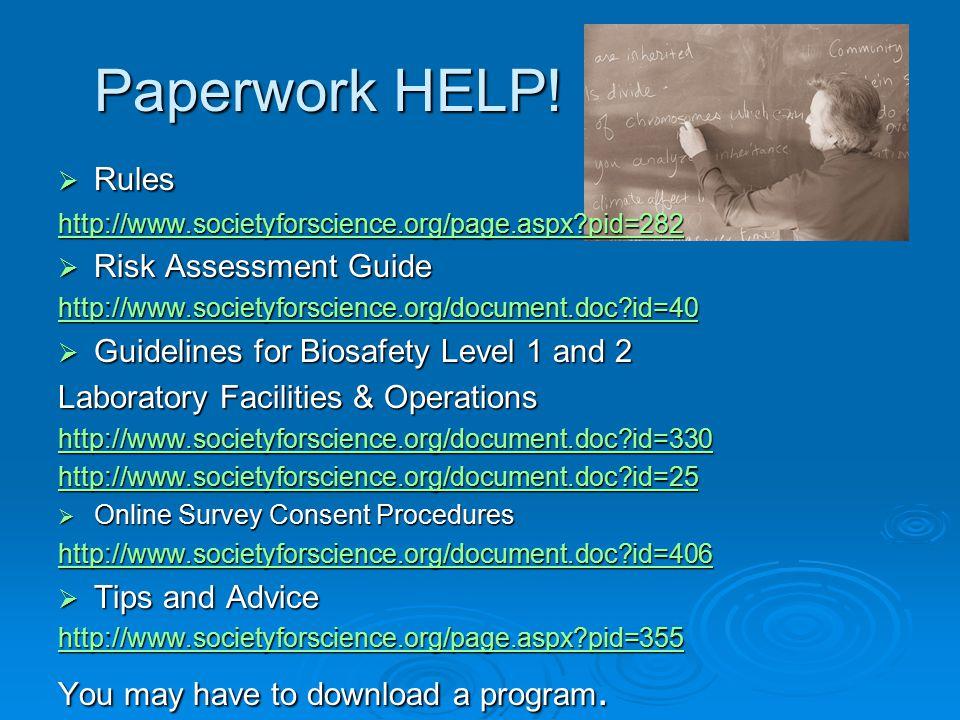 Paperwork HELP.