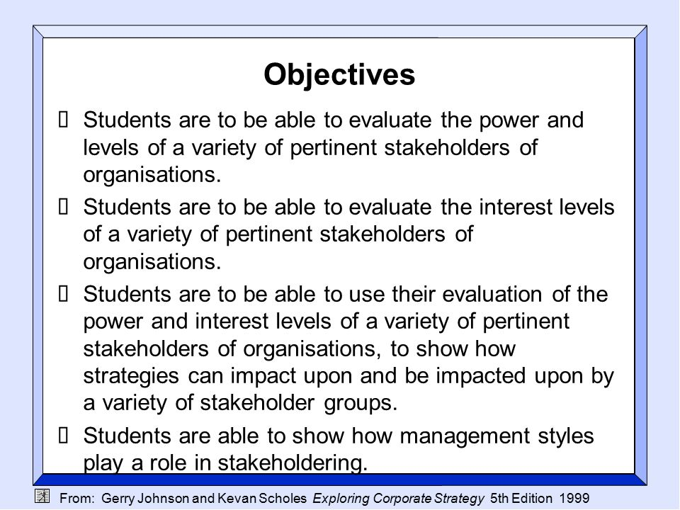From: Gerry Johnson and Kevan Scholes Exploring Corporate Strategy 5th Edition 1999 Objectives  Students are to be able to evaluate the power and levels of a variety of pertinent stakeholders of organisations.
