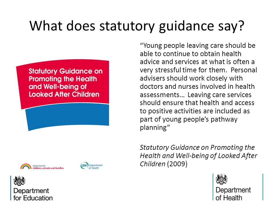 What does statutory guidance say.