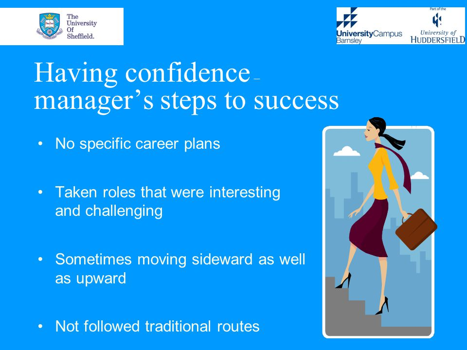 Having confidence – manager's steps to success No specific career plans Taken roles that were interesting and challenging Sometimes moving sideward as well as upward Not followed traditional routes