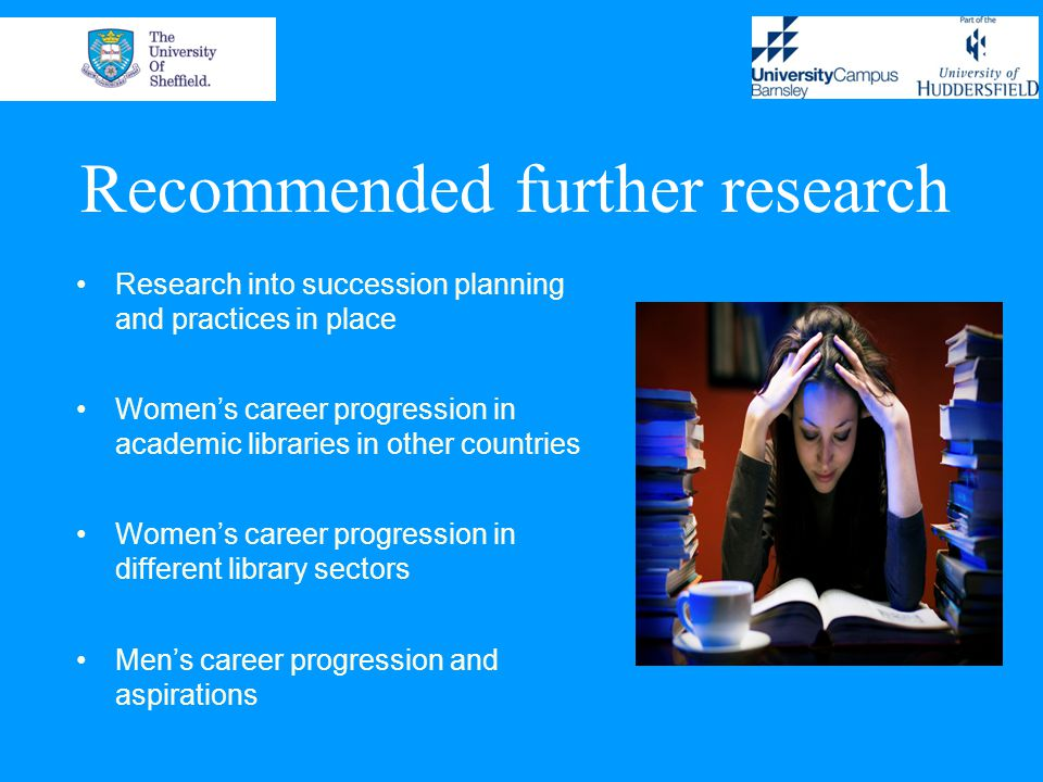 Recommended further research Research into succession planning and practices in place Women's career progression in academic libraries in other countries Women's career progression in different library sectors Men's career progression and aspirations