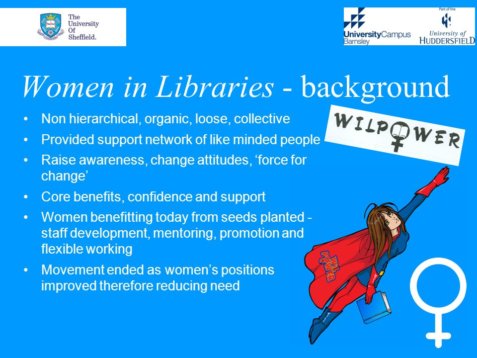 Aims To investigate women's success in UK academic libraries To identify career paths and potential barriers to career progression
