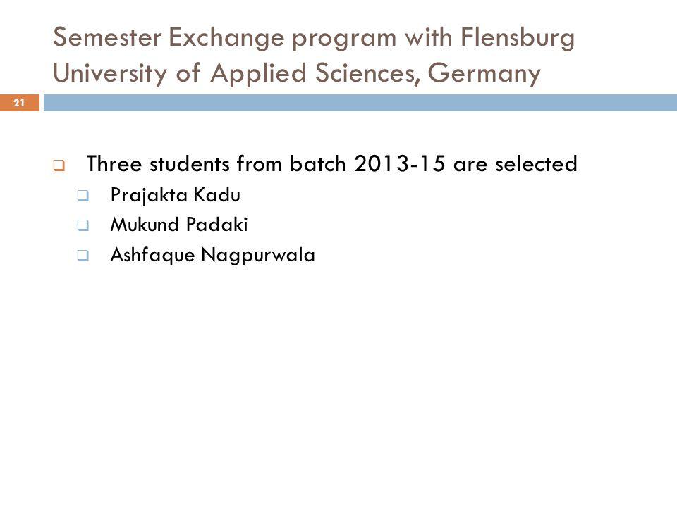 Semester Exchange program with Flensburg University of Applied Sciences, Germany  Three students from batch 2013-15 are selected  Prajakta Kadu  Mu