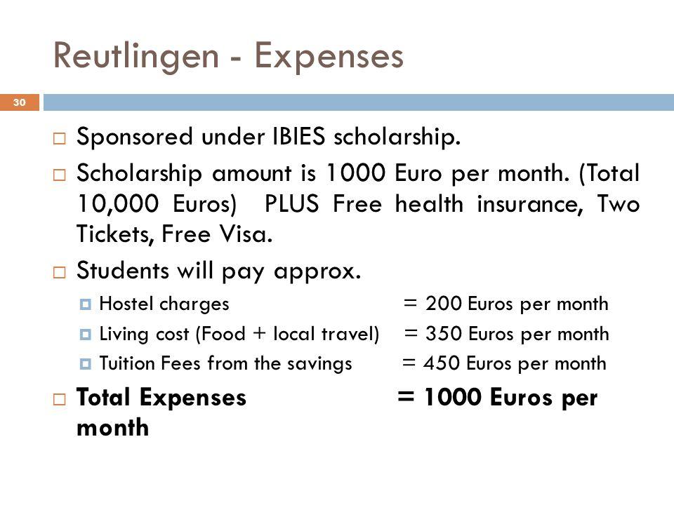 Reutlingen - Expenses  Sponsored under IBIES scholarship.  Scholarship amount is 1000 Euro per month. (Total 10,000 Euros) PLUS Free health insuranc