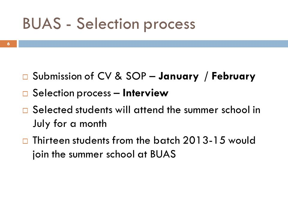 BUAS - Selection process  Submission of CV & SOP – January / February  Selection process – Interview  Selected students will attend the summer scho