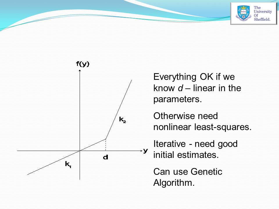 Everything OK if we know d – linear in the parameters. Otherwise need nonlinear least-squares. Iterative - need good initial estimates. Can use Geneti