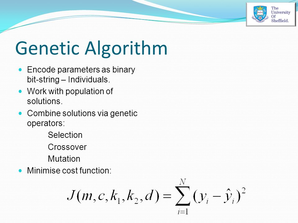 Genetic Algorithm Encode parameters as binary bit-string – Individuals. Work with population of solutions. Combine solutions via genetic operators: Se
