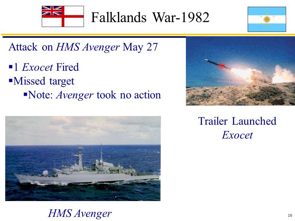 16 Falklands War-1982 Attack on HMS Avenger May 27 Trailer Launched Exocet  1 Exocet Fired  Missed target  Note: Avenger took no action HMS Avenger