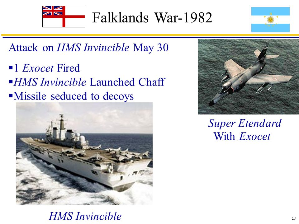 17 Falklands War-1982 Attack on HMS Invincible May 30 With Exocet  1 Exocet Fired  HMS Invincible Launched Chaff  Missile seduced to decoys HMS Invincible Super Etendard
