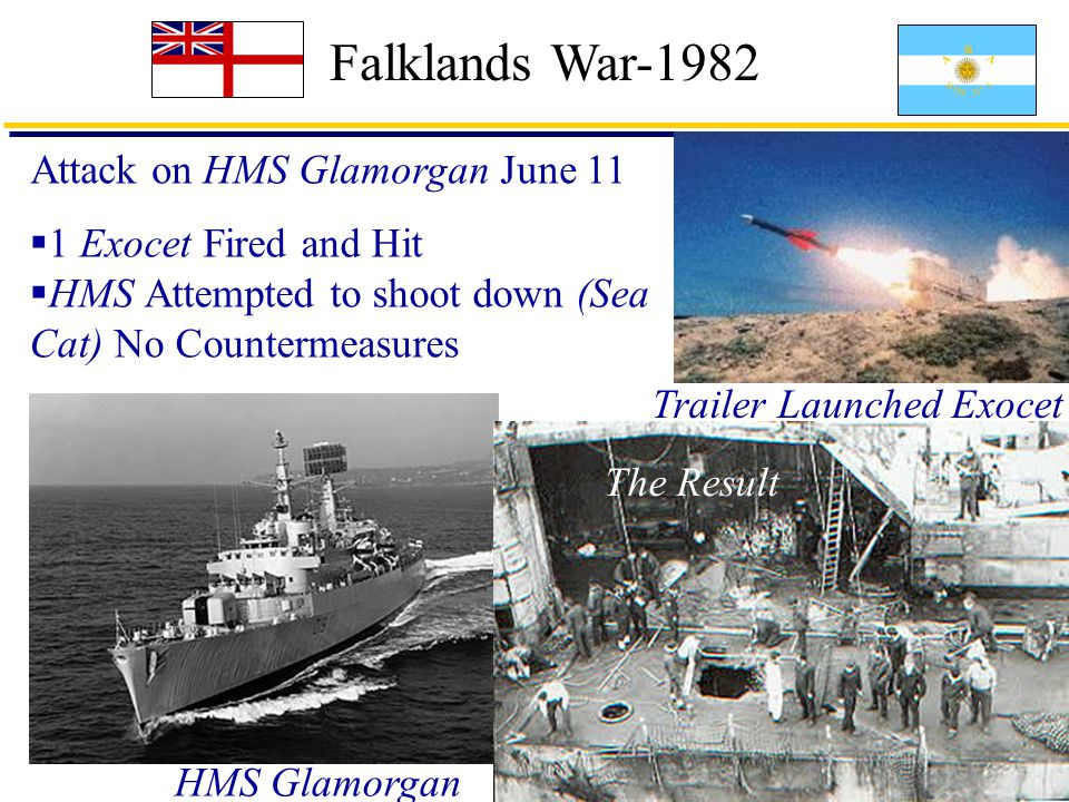 18 Falklands War-1982 Attack on HMS Glamorgan June 11  1 Exocet Fired and Hit  HMS Attempted to shoot down (Sea Cat) No Countermeasures HMS Glamorgan Trailer Launched Exocet Sea Cat The Result