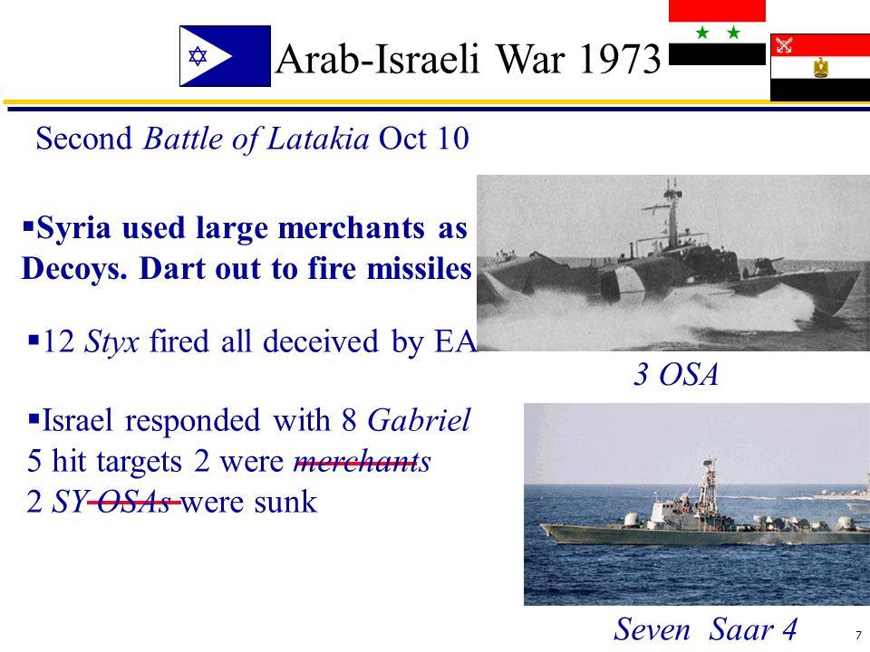 7 Arab-Israeli War 1973 Second Battle of Latakia Oct 10 Seven Saar 4 3 OSA  Syria used large merchants as Decoys.