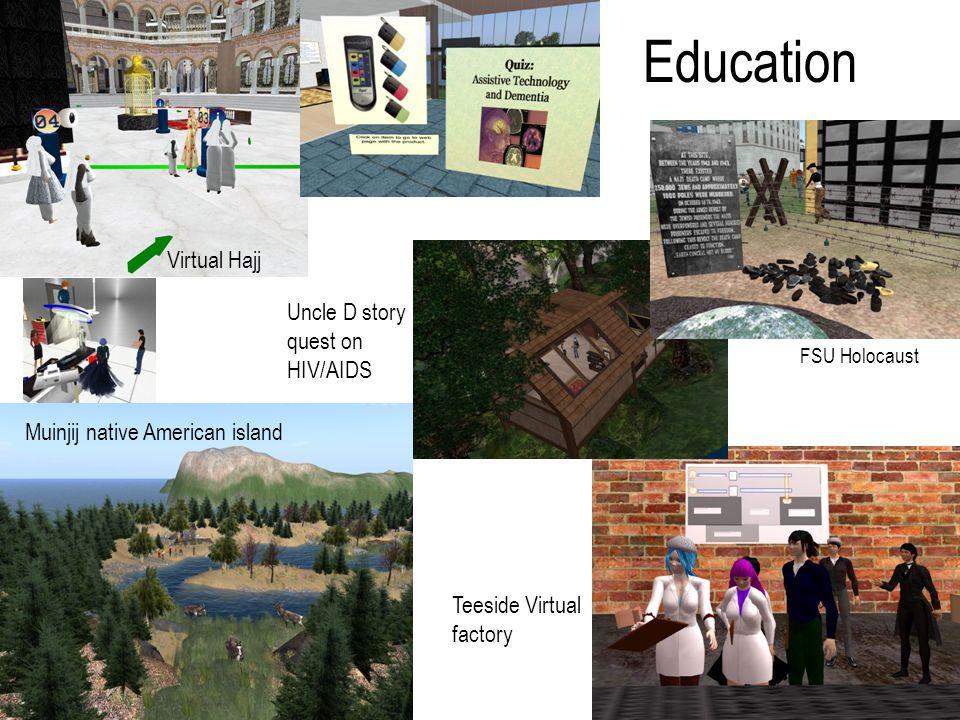 Education Virtual Hajj Muinjij native American island Teeside Virtual factory Uncle D story quest on HIV/AIDS FSU Holocaust