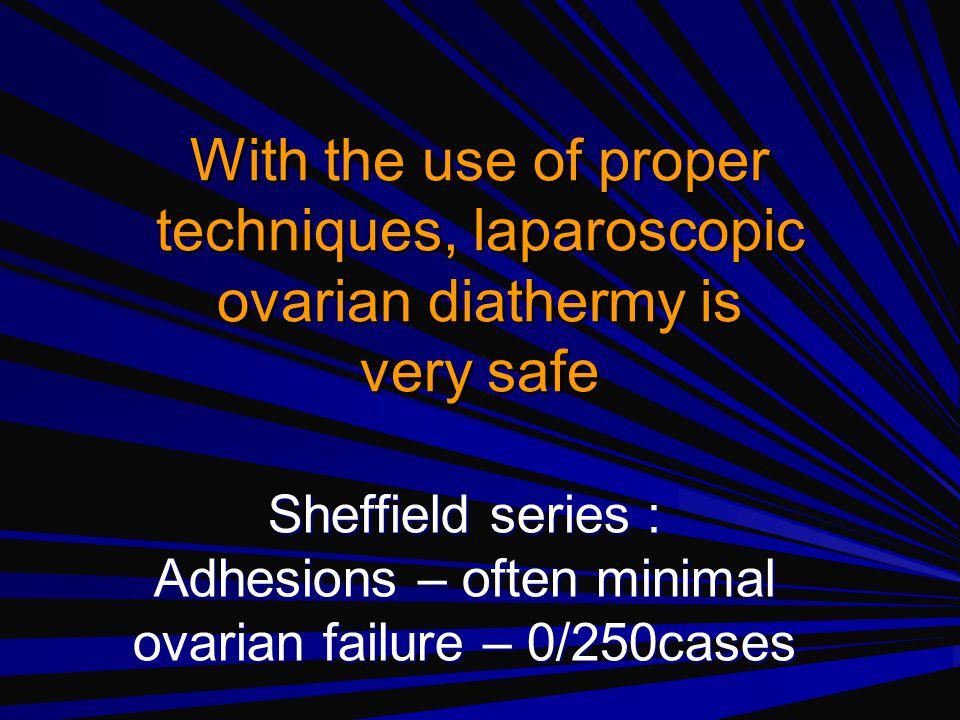 ELECTRICAL ENERGY Rockett of London diathermy needle needle 8 mm long, 2 mm diameter monopolar coagulation power - 30 W puncture –number 4 –duration 5