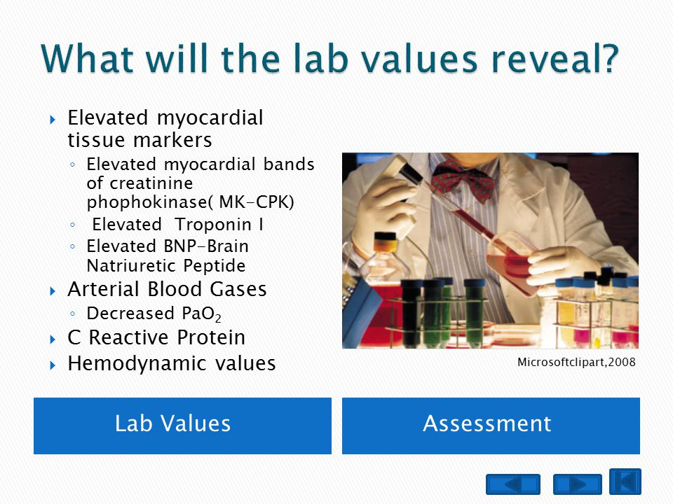 Lab ValuesAssessment  Elevated myocardial tissue markers ◦ Elevated myocardial bands of creatinine phophokinase( MK-CPK) ◦ Elevated Troponin I ◦ Elev