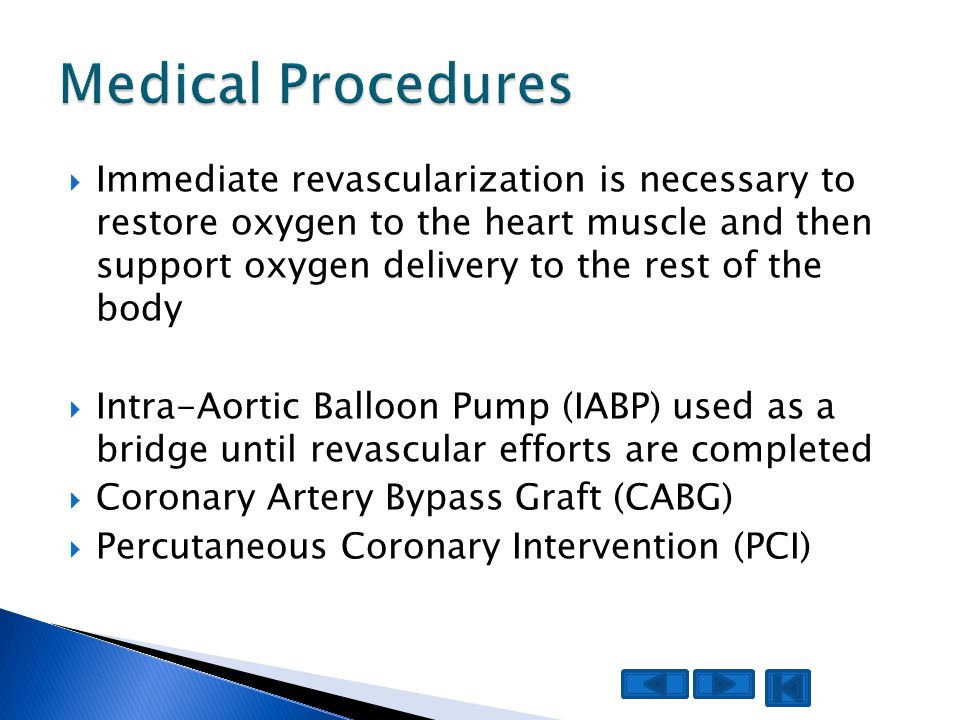  Immediate revascularization is necessary to restore oxygen to the heart muscle and then support oxygen delivery to the rest of the body  Intra-Aort