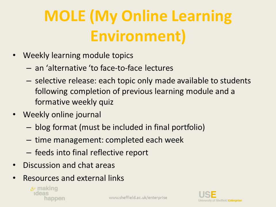 MOLE (My Online Learning Environment) Weekly learning module topics – an 'alternative 'to face-to-face lectures – selective release: each topic only made available to students following completion of previous learning module and a formative weekly quiz Weekly online journal – blog format (must be included in final portfolio) – time management: completed each week – feeds into final reflective report Discussion and chat areas Resources and external links www.sheffield.ac.uk/enterprise