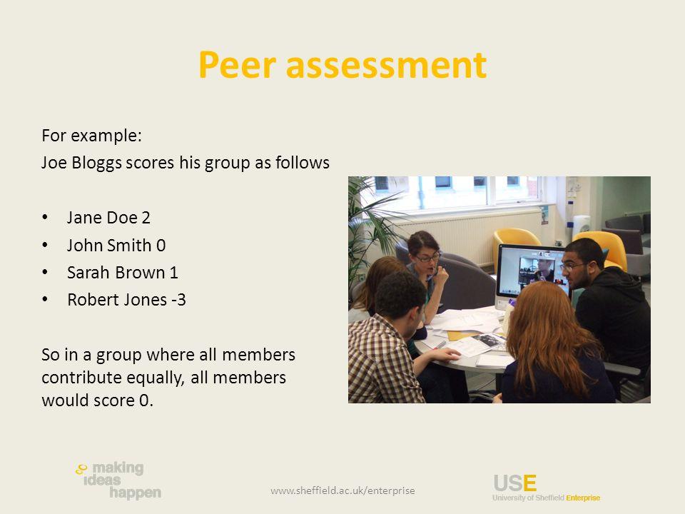 Peer assessment For example: Joe Bloggs scores his group as follows Jane Doe 2 John Smith 0 Sarah Brown 1 Robert Jones -3 So in a group where all memb