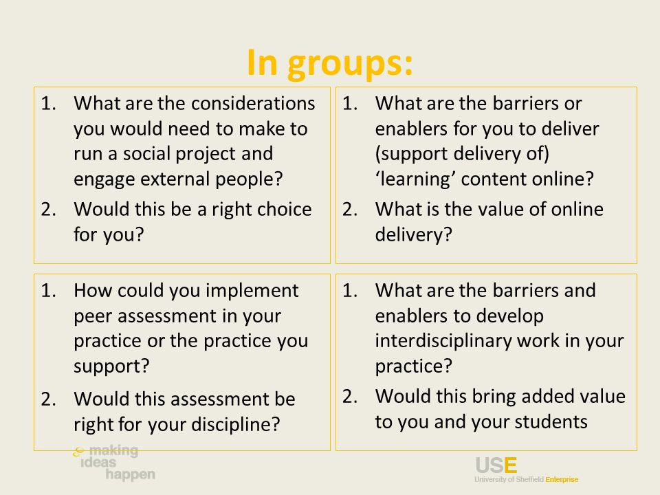 In groups: 1.What are the considerations you would need to make to run a social project and engage external people.