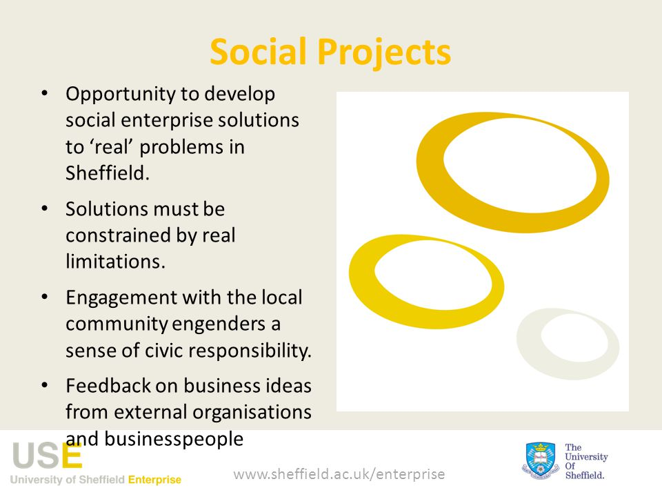 Social Projects Opportunity to develop social enterprise solutions to 'real' problems in Sheffield.