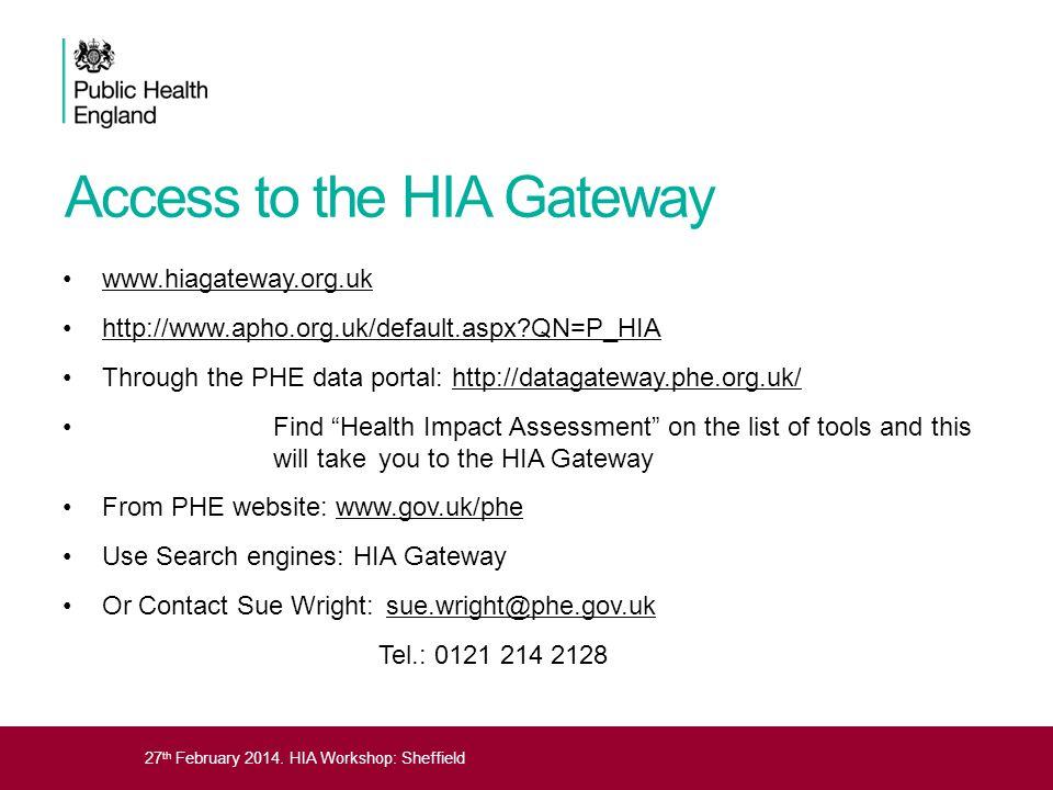 27 th February 2014. HIA Workshop: Sheffield Access to the HIA Gateway www.hiagateway.org.uk http://www.apho.org.uk/default.aspx?QN=P_HIA Through the