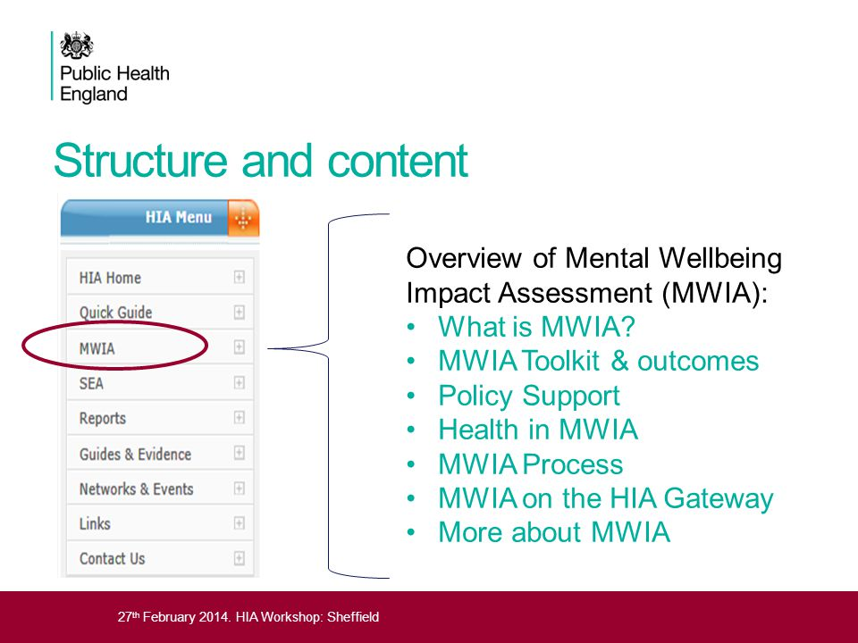 27 th February 2014. HIA Workshop: Sheffield Structure and content Overview of Mental Wellbeing Impact Assessment (MWIA): What is MWIA? MWIA Toolkit &