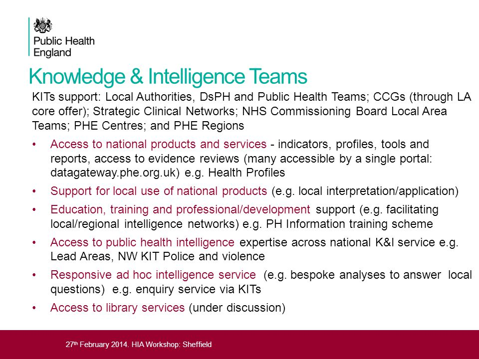 27 th February 2014. HIA Workshop: Sheffield Knowledge & Intelligence Teams KITs support: Local Authorities, DsPH and Public Health Teams; CCGs (throu