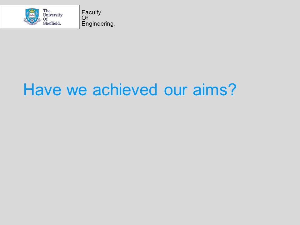 Faculty Of Engineering. Have we achieved our aims?
