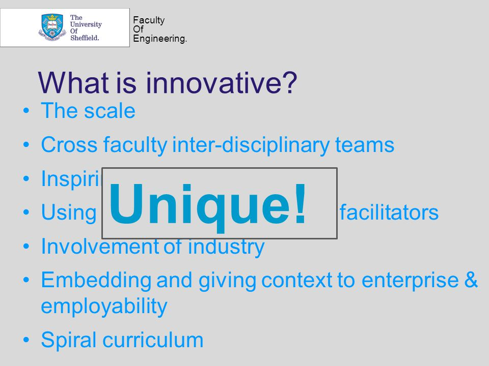Faculty Of Engineering. What is innovative? The scale Cross faculty inter-disciplinary teams Inspiring not assessing Using trained PhD students as fac