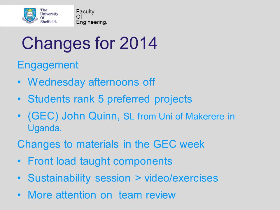 Faculty Of Engineering. Changes for 2014 Engagement Wednesday afternoons off Students rank 5 preferred projects (GEC) John Quinn, SL from Uni of Maker