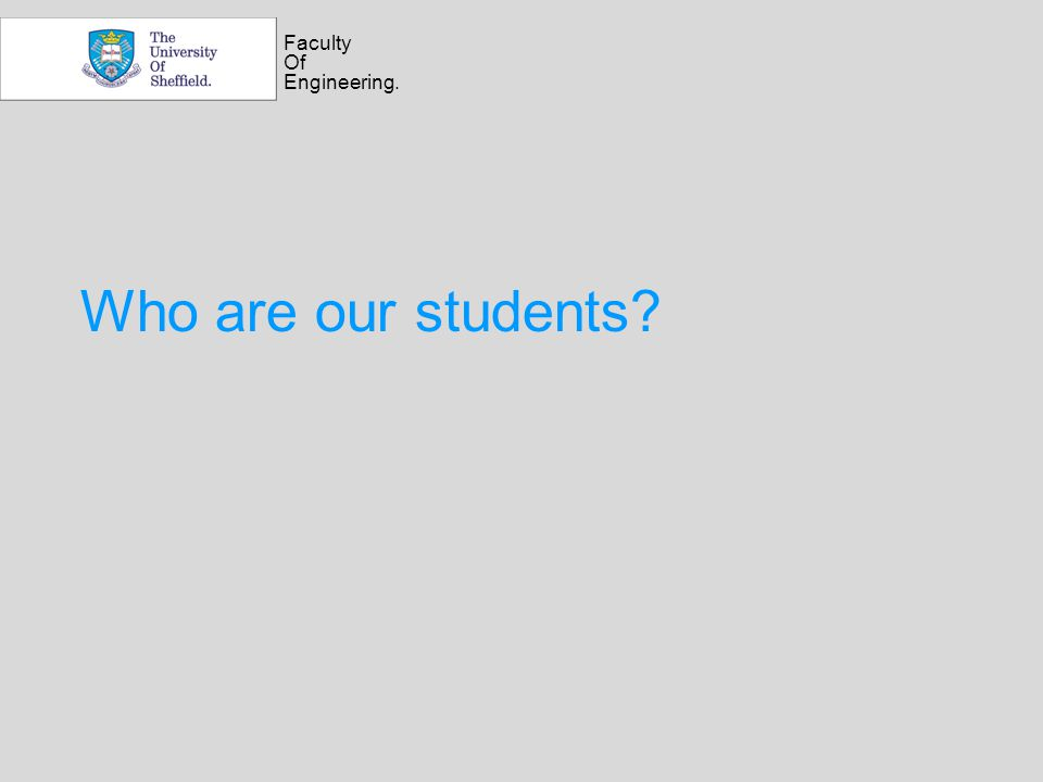 Faculty Of Engineering. Who are our students?