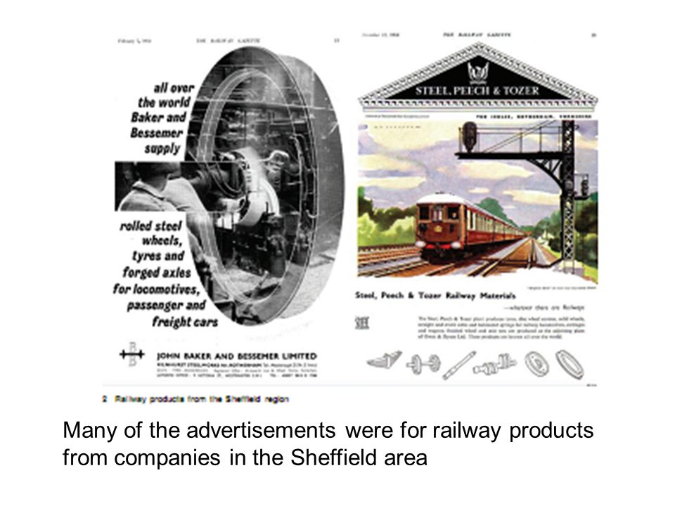 Many of the advertisements were for railway products from companies in the Sheffield area