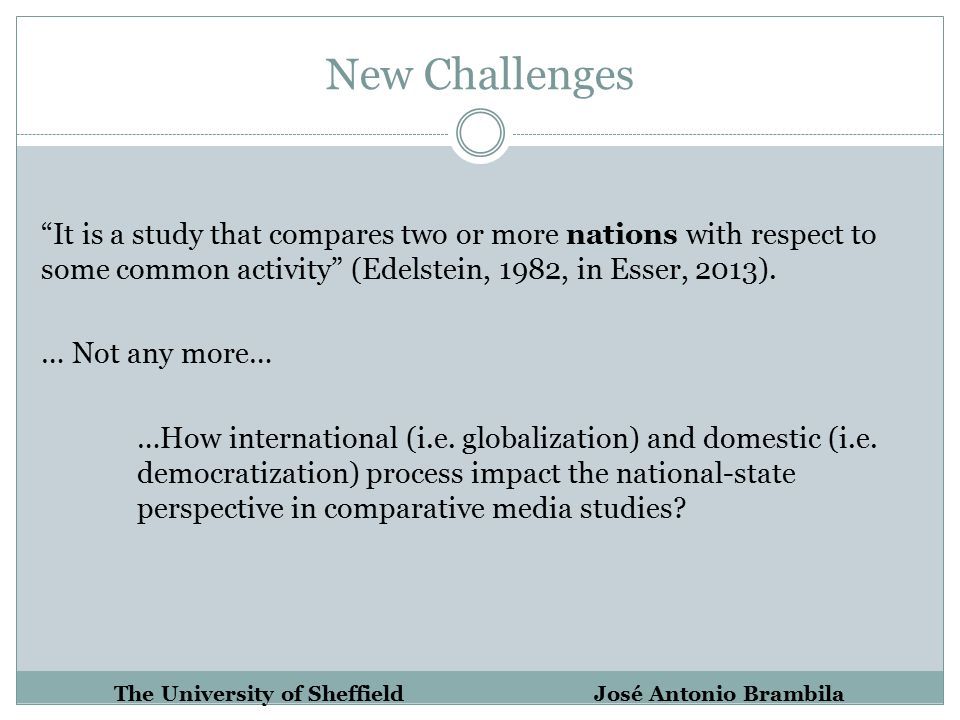 New Challenges It is a study that compares two or more nations with respect to some common activity (Edelstein, 1982, in Esser, 2013).