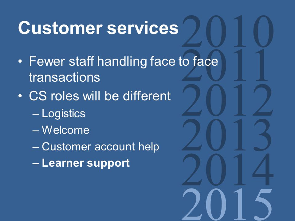 2010 2011 2012 2013 2014 2015 Customer services Fewer staff handling face to face transactions CS roles will be different –Logistics –Welcome –Customer account help –Learner support