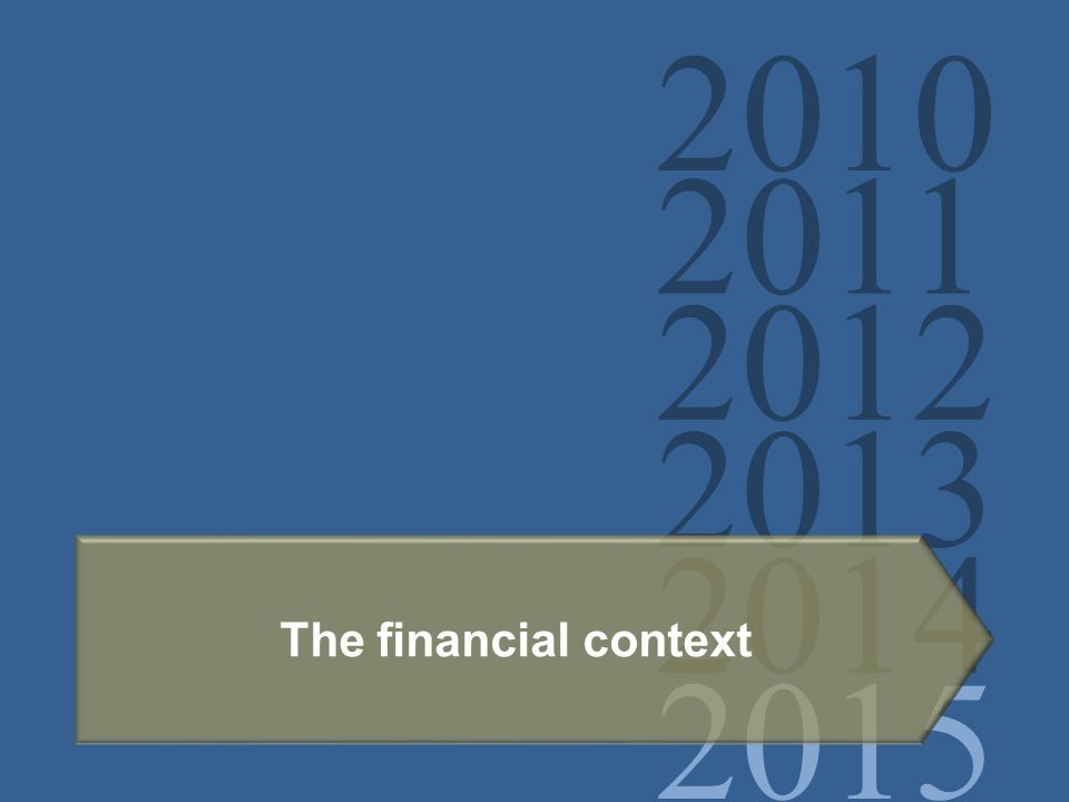2010 2011 2012 2013 2014 2015 The financial context