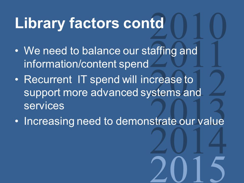 2010 2011 2012 2013 2014 2015 Library factors contd We need to balance our staffing and information/content spend Recurrent IT spend will increase to support more advanced systems and services Increasing need to demonstrate our value