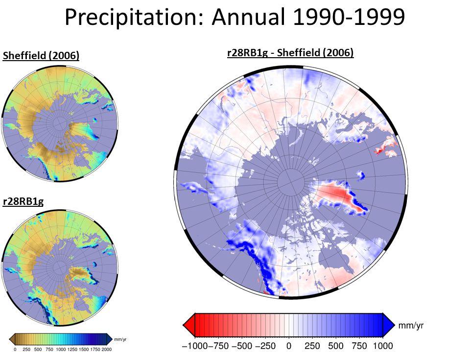 Precipitation: Annual 1990-1999 Sheffield (2006) r28RB1g r28RB1g - Sheffield (2006)
